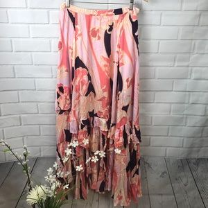 NWT Free People Floral Maxi Skirt Pink